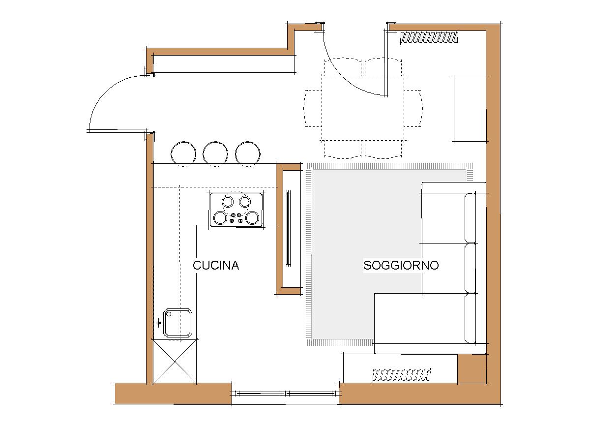 Interior design piccola zona living in 20mq for Cucina soggiorno piccola