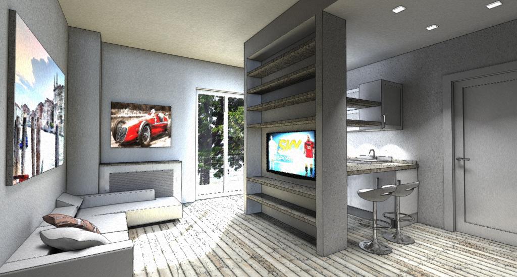 Interior Design Piccola Zona Living in 20mq