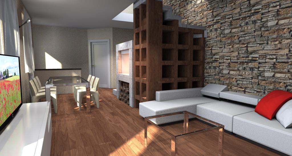 SOGGIORNO: divano ad angolo che guarda verso la tv, camino e tavolo da ...