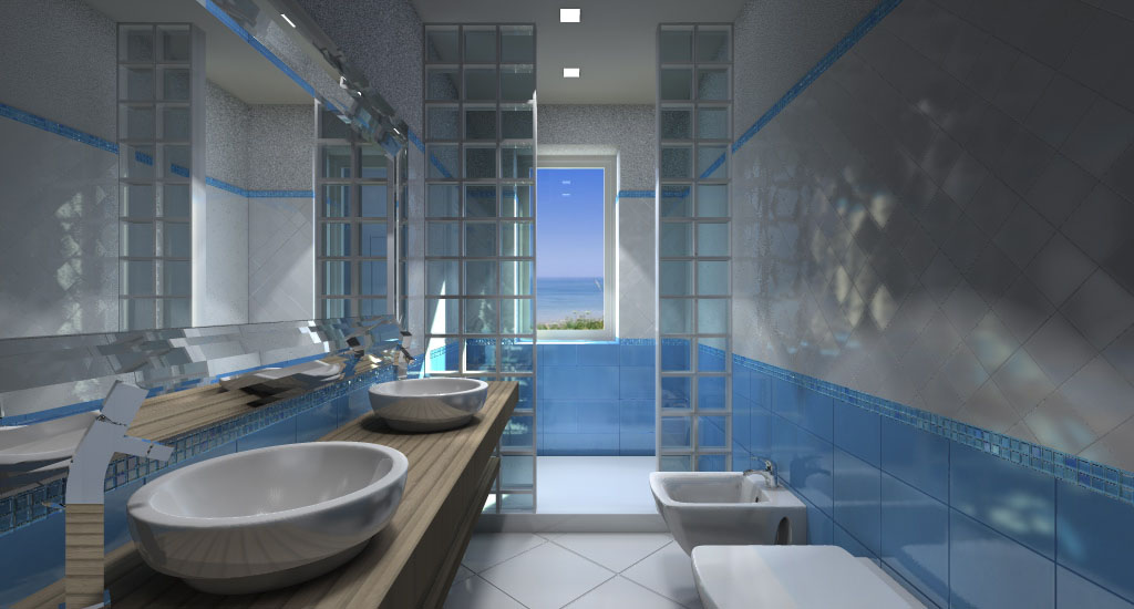 vetrocemento doccia : Bagno Con Doccia In Vetrocemento : Render Bagno con grande doccia sul ...