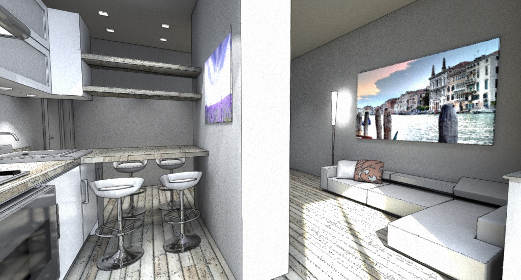 Interior design piccola zona living in 20mq - Separazione cucina soggiorno ...