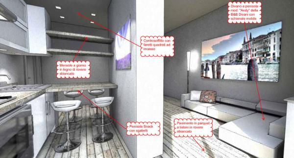 living design in 20mq - Cucina Soggiorno Open Space 20 Mq