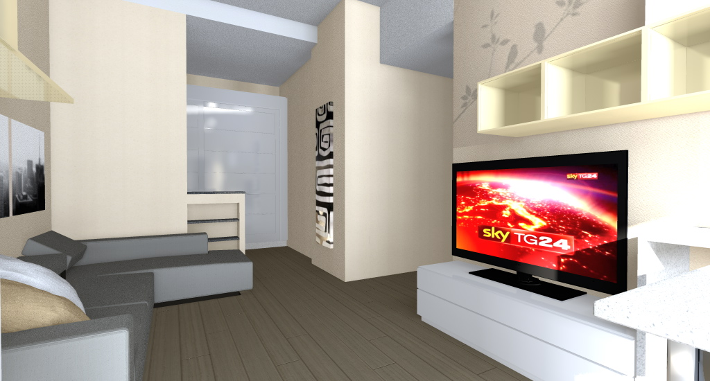 ZONA TV: dialoga direttamente con la cucina, riprendendone i colori e lo stile