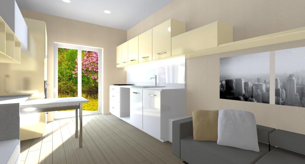 CUCINA: mobili laccati in bianco e avorio, disposizione dinamica e funzionale