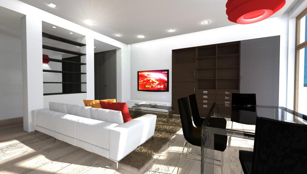 Cucina aperta su soggiorno